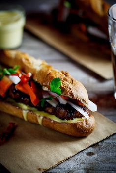 Caramelized Pork Banh Mi with Pickled Daikon and Carrot, Chilies, Dijon Mayonnaise and Coriander