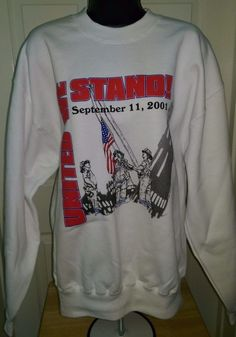 "Jerzees NWOT Unisex White/Red/Black ""9/11"" Sweatshirt Size L #JERZEES"