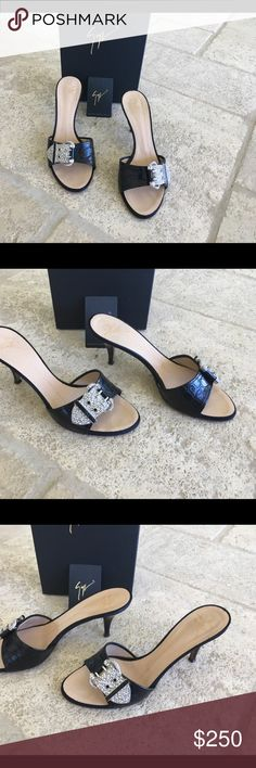 GIUSEPPE ZANOTTI BLACK SANDAL W CRYSTAL BUCKLE 7.5 In great condition. There are some marks on the left heel.  Please see picture. Giuseppe Zanotti Shoes Sandals