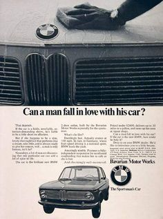 1968 BMW Coupe original vintage ad. Dazzingly fast, cruises at 100 mph, up to 30 mpg, and priced at under $2,600 original MSRP. From Bavarian Motor Works.
