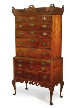 A Queen Anne Carved and Figured Maple High Chest of Drawers, Attributed to the Workshop of Major John Dunlap, Probably Bedford, New Hampshire, Circa 1785.