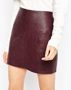Image 3 ofASOS Textured PU Mini Skirt