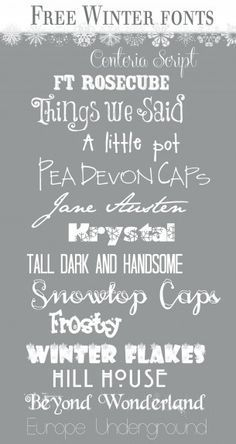 """""""Rosecube & Krystal""""-> {TRIED AND TRUE} Winter Fonts from Over the Big Moon! The fonts are cute and they also included the font they used to make the snowflake border on the top of the page. Fancy Fonts, Cool Fonts, Pretty Fonts, Silhouette Cameo, Winter Fonts, L Elf, Just In Case, Just For You, Christmas Fonts"""