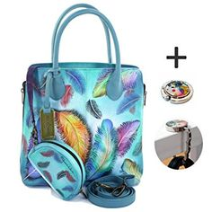 e60508eed9be Anuschka Shoulder Handbag - Hand Painted Design on Real Leather - Bundle w  Purse Holder (Floating Feathers) Review