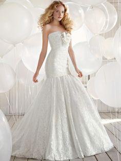 Trumpet/Mermaid Strapless Lace Satin Chapel Train White Flowers Wedding Dresses