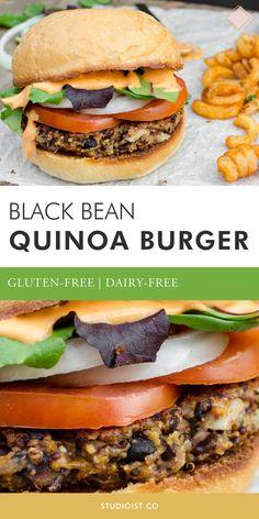 Vegetarian Recipes Dairy Free, Vegetarian Sandwich Recipes, Gluten Free Recipes For Dinner, Veggie Recipes, Dinner Recipes, Black Bean Quinoa Burger, Quinoa Burgers, Black Bean Veggie Burger Recipe Healthy, Black Bean Burgers