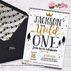 Wild one First Birthday invitation King of all things Printable Invitations Black and gold printable Birthday invite Golden Crown boho teepee Invitations Boys First Birthday Party Ideas, Wild One Birthday Party, Birthday Party Themes, Boy Birthday, Wild One Birthday Invitations, Printable Invitations, Party Printables, Wild Ones, First Birthdays