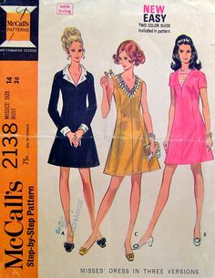 Vintage 60s Princess Dress McCalls 2138 Sewing Pattern Detachable Collar Cuffs