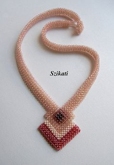 Pink Seed Bead Statement Necklace Art Beadwork 3D RAW by Szikati