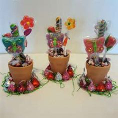 Flower pot candy party favors