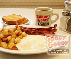 """Goody Goody Diner, 5900 Natural Bridge Ave., St. Louis, MO 63120 """"This building got its start as a walk-up A&W Root Beer stand. For a while, it was a drive-in...Herb and Viola Connelly purchased it in the 1950s...massive menu: Goody Goody's Chicken & Waffles are the unquestioned favorite. An entire half of a fried chicken (that's five pieces) comes surrounded by Belgian waffles, crisped perfectly and wearing a thick coat of butter and syrup. This tower of heaven is yours for $10.95."""