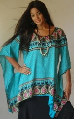 TURQUOISE BLOUSE TOP PONCHO TUNIC HOLES BATIK - FITS (ONE SIZE) - M L 1X 2X - A958S LOTUSTRADERS LOTUSTRADERS. $42.99