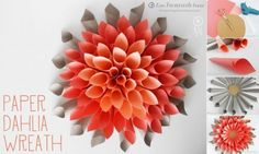 ... beautiful craft dahlia wreath step by step DIY tutorial instructions ... Isn't this lovely? See more awesome stuff at http://craftorganizer.org
