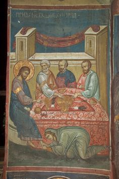 Christ in the House of Simon, century, Dečani monastery, Serbia (courtesy… Byzantine Icons, Byzantine Art, Religious Images, Religious Art, Religion Catolica, Life Of Christ, Russian Icons, Religious Paintings, Best Icons