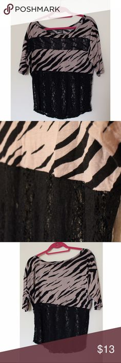 "Daytrip Zebra Top Adorable ""greige"" zebra and lace Daytrip top. The lace is in great condition, no snags! Daytrip Tops"