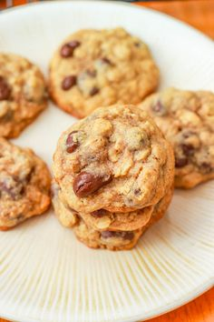 Forget oatmeal cookies with plain old raisins... These are thick and chewy with chocolate covered raisins!