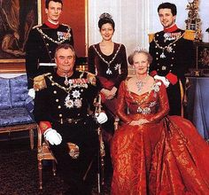 Prince Joachim, Princess Alexandra, Crown Prince Frederik, Prince Henrik, and Queen Margrethe II attend the 2000 New Years Court. Margrethe is wearing the Pearl Poire Tiara.