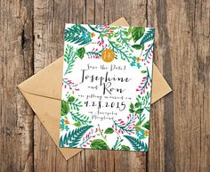 Botanical save the date card with modern handwritten fonts from TheInkedLeaf on Etsy