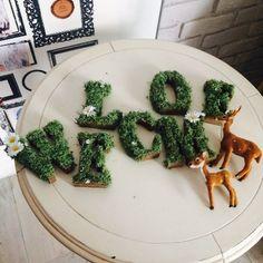 コーディネートグッズ(coordinate goods):アルファベットモチーフ、バンビモチーフ・・・お客様お持ち込みアイテム Faux Grass, Deer Wedding, Green Beans, Vegetables, Sweet, Desserts, Hangers, Enchanted, Food