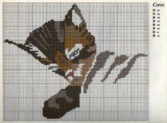 Gráficos_ponto_cruz: Grafico ponto cruz Almofada com gato dorminhoco