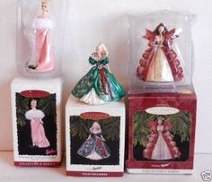 Lot of 3 Barbie Ornaments Holiday Barbie Collector's 1995, 1996, 1996 New in box