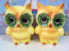 Vintage Retro Owls Salt and Pepper Shakers Antique Lusterware Collectibles or Cake Toppers by MoonFaces on Etsy https://www.etsy.com/listing/151487867/vintage-retro-owls-salt-and-pepper
