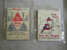 VINTAGE STAG BEER ADVERTISING MATCHES LOT - MR. MAGOO