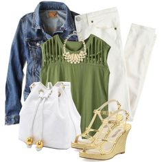 """Denim, Ivory, and Olive"" by rarityx on Polyvore"