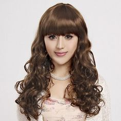 Capless Long Curly Light Brown High Quality Synthetic Wig Full Bang