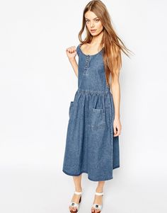 ASOS Denim Midi Drop Waist Pinafore with Patch Pockets