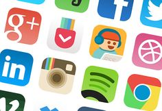 A set of 16 useful iOS7-style icons redesigned by Allen Wang. Free PSD available for download.