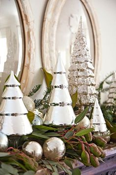 Silver trees make for picture-perfect mantel decor - Traditional Home®️️