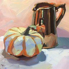 "Daily Paintworks - ""Pink Copper Pumpkin"" - Original Fine Art for Sale - © Teddi Parker"