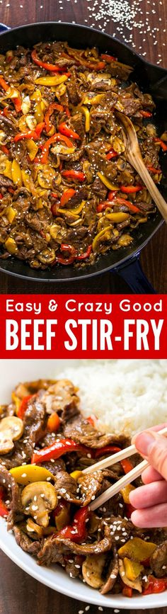 MUST TRY quick beef stir-fry recipe loaded with mushrooms, bell peppers and…
