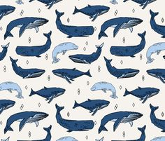 Whales by Andrea Lauren fabric by andrea_lauren on Spoonflower - custom fabric