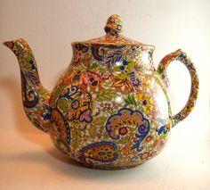 chintz teapots    Chintz Teapot Paisley by Wade 1940s English Vintage Perfect