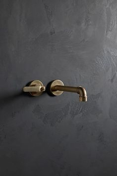 brushed brass faucet on a dark plaster wall finish - Elan Vital collection by The Watermark, Brooklyn