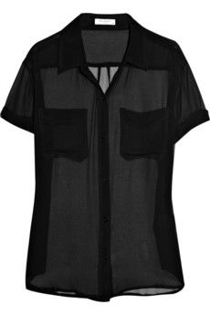 sheer button down ~ reminds me of the blouse Kate Hudson gives Anne Hathaway in 'Bride Wars' ^_^