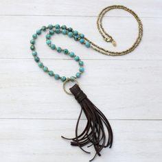 Tibetan Turquoise & Deerskin Tassel necklace