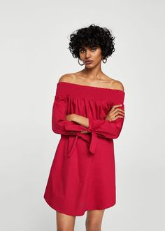 Popelínové šaty off-shoulder | MANGO