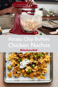 Take ordinary potato chips to a new level with this recipe for Potato Chip Buffalo Chicken Nachos. The chicken can be shredded with the KitchenAid® Stand Mixer. Kitchenaid Food Processor, Food Processor Recipes, Stand Mixer Recipes, Buffalo Chicken Nachos, Chicken Nachos Recipe, Kitchen Aid Recipes, One Skillet Meals, Peeling Potatoes, Tasty Bites