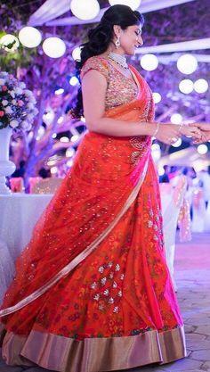 Red hot half saree