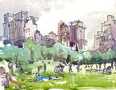 New York, Central Park watercolor sketch, Sheep Meadow a watercolor sketch in grey and green - 8x10 art print. $20.00, via Etsy.