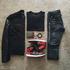 Dark tones with red accent Swag Outfits, Trendy Outfits, Cool Outfits, Tomboy Fashion, Streetwear Fashion, Mens Fashion, Lumberjack Style, Hype Clothing, Outfit Combinations