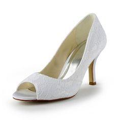 Wedding Shoes - $49.99 - Women's Lace Satin Stiletto Heel Peep Toe Sandals  http://www.dressfirst.com/Women-S-Lace-Satin-Stiletto-Heel-Peep-Toe-Sandals-047024509-g24509