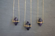 Rich Purple Amethyst Crystal plated in gold, on a custom length Gold Filled chain.