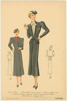Ensemble d'après-midi, robe en satin noir, ceinture cloutée d'argent, veste en gros-grain blanc, manteau en lainage noir. 1937