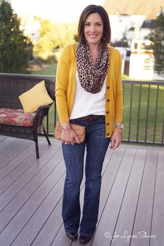 Bootcuts are back-But not for me!.... Love this fall outfit-color of cardigan with white top and scarf