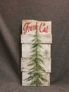 Christmas tree for sale sign white washed by TheWhiteBirchStudio