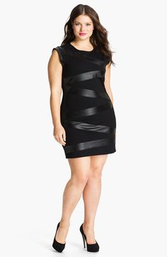 Sheri Bodell Faux Leather Wrapped Ponte Sheath Dress (Plus) $370